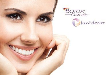 Woman with beautiful skin next to Botox and Juvederm logos